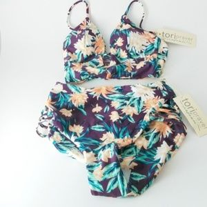 NWT Tori Praver Swimsuit Strappy Top & Bottoms XS